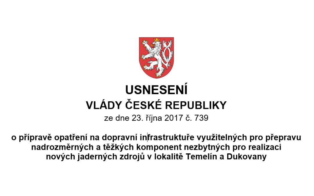 USNESENÍ VLÁDY ČESKÉ REPUBLIKY ze dne 23. října 2017 č. 739